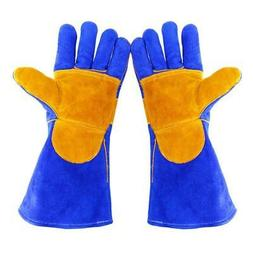 1 Pair Black Heavy Duty Mig Welding Gloves Gauntlets Welders