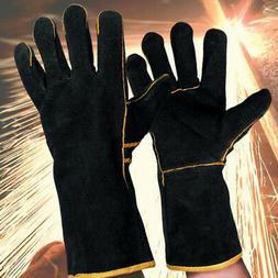 1 Pair Black Heavy Duty Welding Gloves Gauntlets Welders Glo