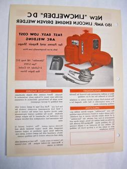Lincoln 180 Amp. Engine Driven DC Welder Brochure