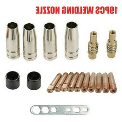 19pcs M6 Torch Welder Contact Tips Gas Nozzle For MIG/MAG MB