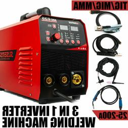 220V MIG Welder MMA TIG ARC 3IN1 200Amp Gas Wire Portable We