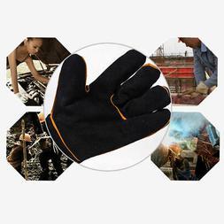 Anti-Slip Gloves Heat-Resistant Cowhide Black Pair Welder Ha