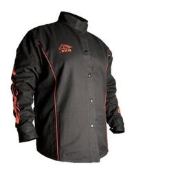 BSX Flame-Resistant Welding Jacket - Black with Red Flames,