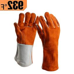 Heavy Duty Thick Welding Gloves, Flexible Sturdy Large Cowhi
