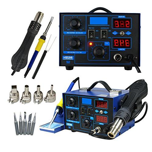 Super in 1 SMD Soldering Iron Welder Hot Gun Rework Display W/4