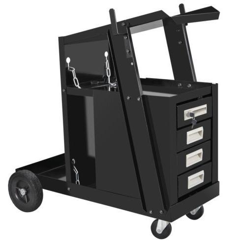 4 Drawer Cabinet Welding Welder Cart Plasma Cutter Tank Stor