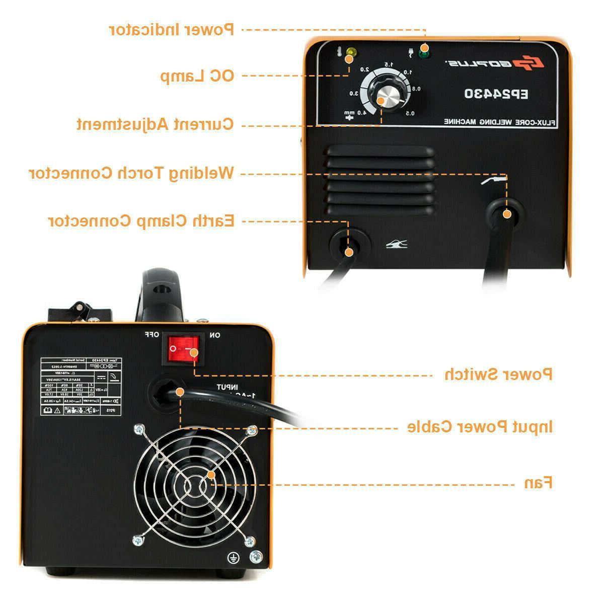 130 MIG Welder Core WIre Welding Machine Free Mask Orange