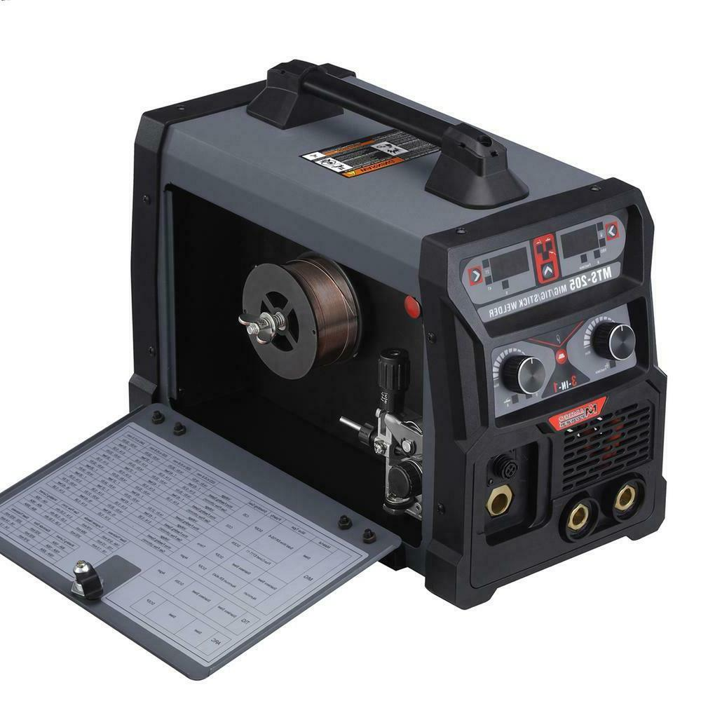 MTS-205, 205 Amp MIG TIG-Torch Stick Arc 3-IN-1 Combo Welder
