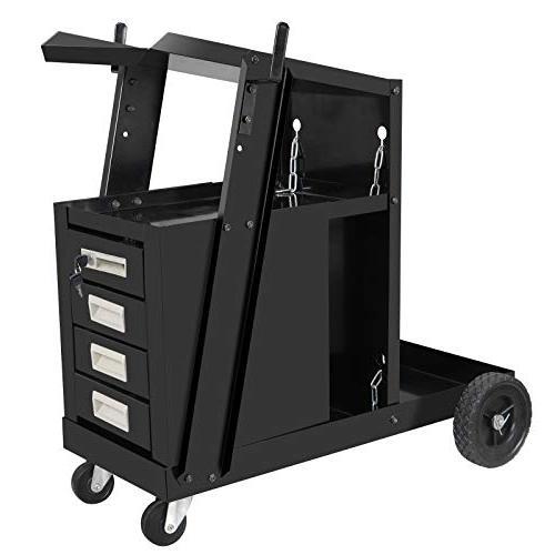 ZENY Portable Cart MIG TIG Plasma Tank Storage Welding 4 w/2 100