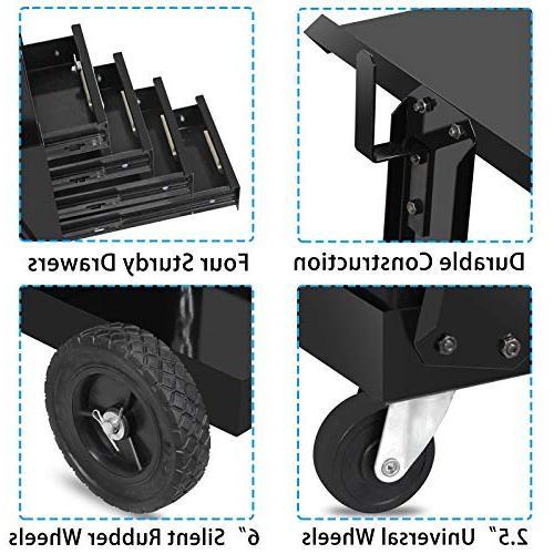 ZENY Welding Cabinet Mig Tig Plasma Rolling Trolley Organizer Safety Chains