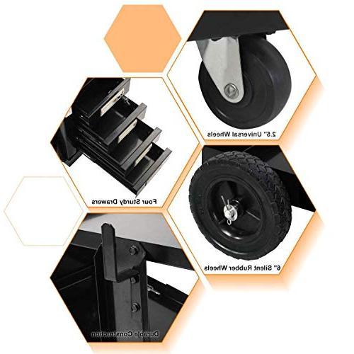 COSTWAY VD-30207TL Cart TIG Plasma Cutter Tank w/2 100 Lb Cabinet , Black