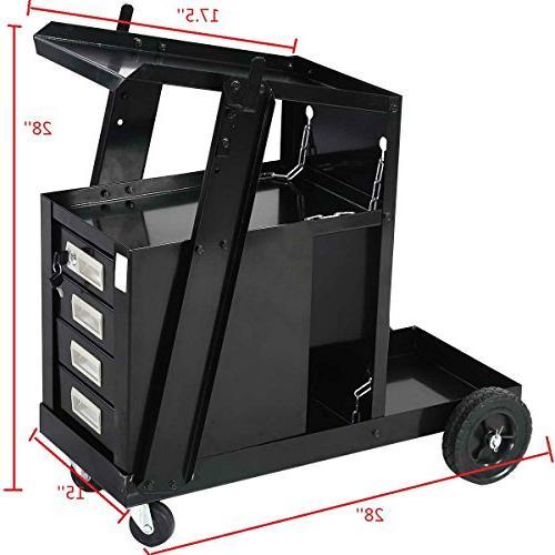 Goplus Welder MIG ARC Cutter Storage Safety 100 Capacity, 4-Drawer