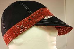 NEW Comeaux Caps Welding Welders Hat Banded Black/Red Bandan