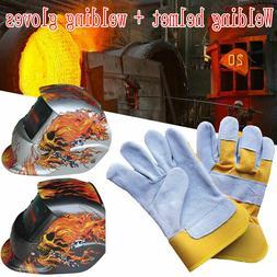 Solar Auto Darkening Safety Welding Helmet Welder Mask Glove