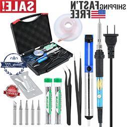 Soldering Iron Kit Electronic 60W 110V Adjustable Temperatur