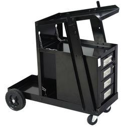 Welding Cart for MIG TIG Flux Welder Swivel Wheels 4 Drawer