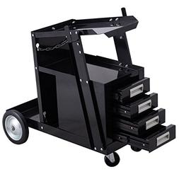 Goplus Welding Welder Cart Trolley Heavy Duty Workshop Organ
